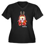 PeRoPuuu6 Women's Plus Size V-Neck Dark T-Shirt