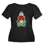 PeRoPuuu9 Women's Plus Size Scoop Neck Dark T-Shir