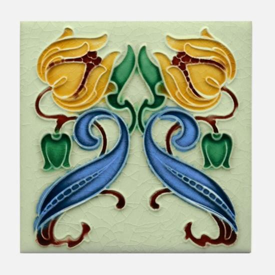 Yellow Double Flower Tile Coaster