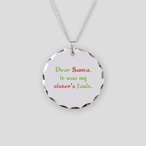 Dear Santa Necklace Circle Charm