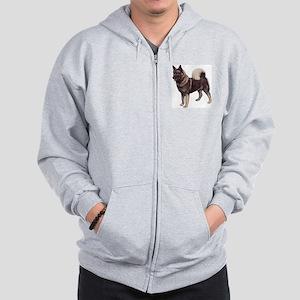 Norwegian elkhound Portrait Zip Hoodie
