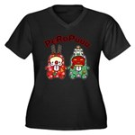 PeRoPuuu10 Women's Plus Size V-Neck Dark T-Shirt