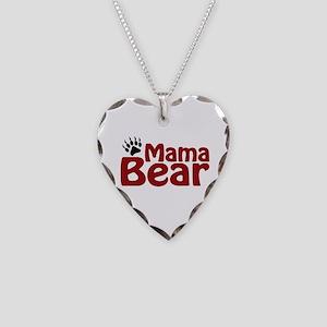 Mama Bear Claw Necklace Heart Charm