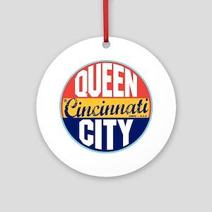 Cincinnati Vintage Label Ornament (Round)