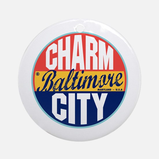Baltimore Vintage Label Ornament (Round)