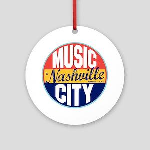 Nashville Vintage Label Ornament (Round)