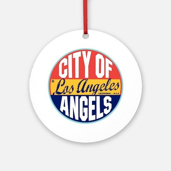 Los Angeles Vintage Label Ornament (Round)