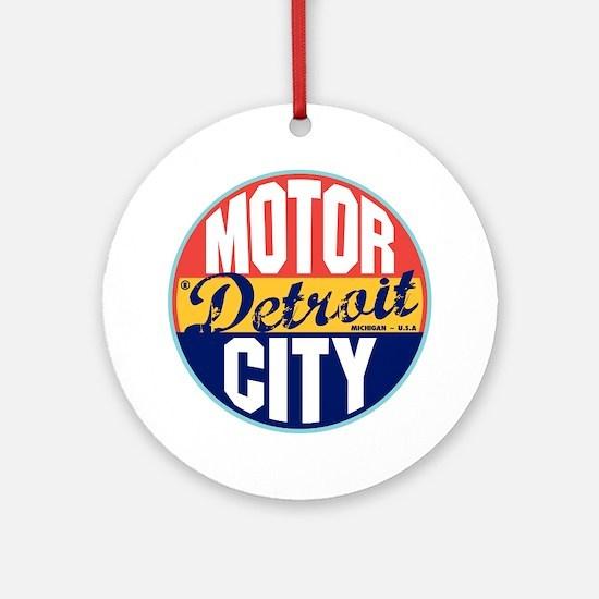 Detroit Vintage Label Ornament (Round)