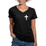 White Cross Women's V-Neck Dark T-Shirt