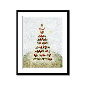 Birds-Christmas tree - Framed Panel Print