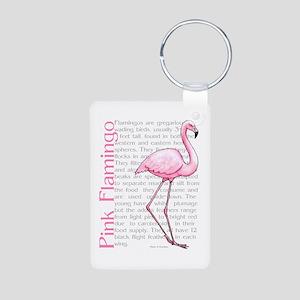 Pink Flamingo Aluminum Photo Keychain
