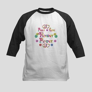 Peace Love Flower Power Kids Baseball Jersey