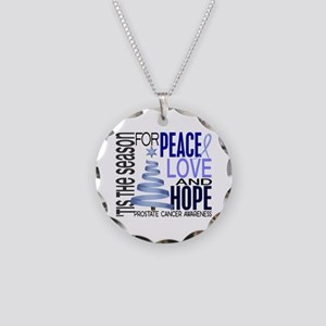 Christmas 1 Prostate Cancer Necklace Circle Charm