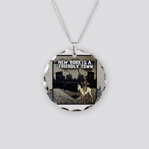 NY is a Friendly Town Necklace Circle Charm
