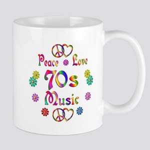 Peace Love 70s Music Mug
