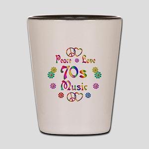 Peace Love 70s Music Shot Glass