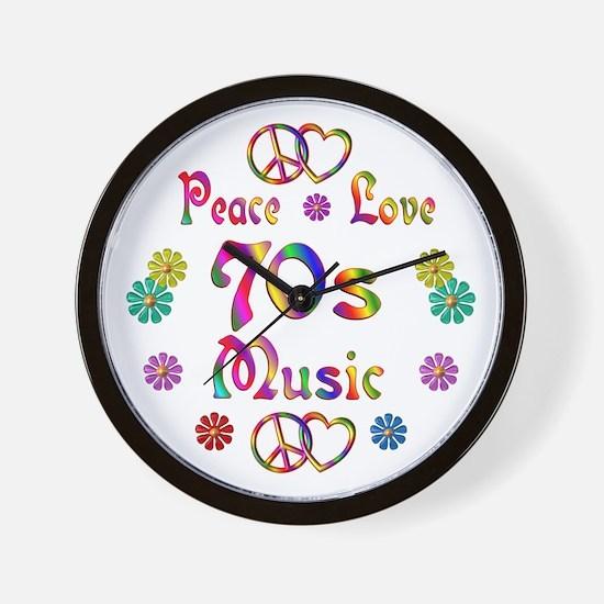 Peace Love 70s Music Wall Clock