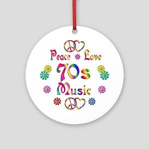 Peace Love 70s Music Ornament (Round)