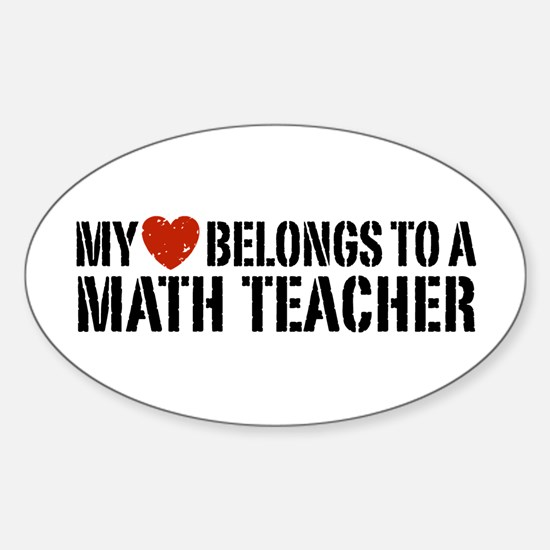 My Heart Math Teacher Sticker (Oval)