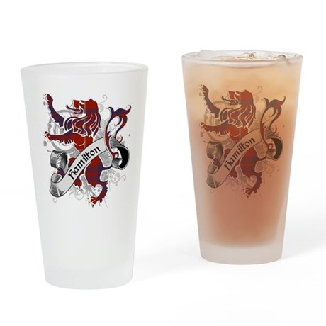 Hamilton Tartan Lion Drinking Glass
