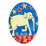 Yellow Elephant Ornament (Oval)