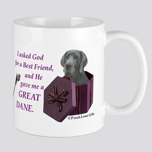 I Asked God -Shirt -GreatDane,Blue Mugs