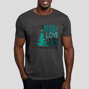 Christmas 1 Ovarian Cancer Dark T-Shirt