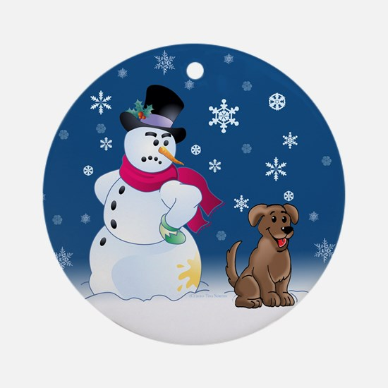 Chocolate lab and Snowman Ornament (Round)