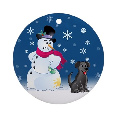 Black Lab and Snowman Ornament (Round)