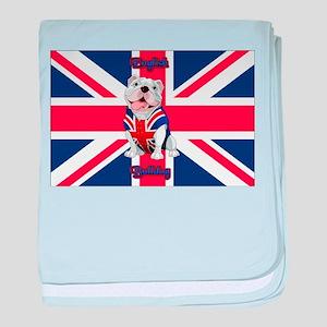 Union Jack English Bulldog baby blanket