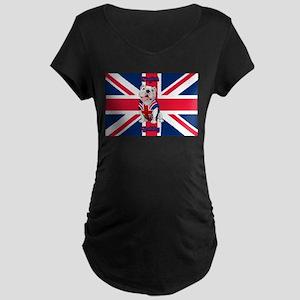 Union Jack English Bulldog Maternity T-Shirt