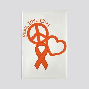 Peace, Love, Cure Rectangle Magnet