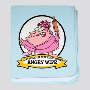 WORLDS GREATEST ANGRY WIFE CARTOON baby blanket