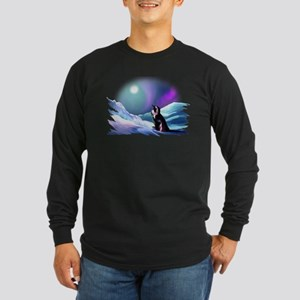 Contemplative Penguin Long Sleeve Dark T-Shirt