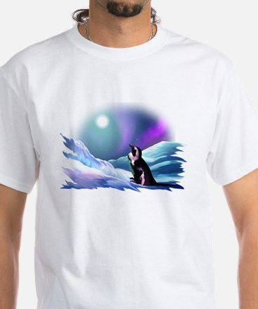 Contemplative Penguin White T-Shirt