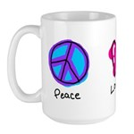Peace Love and Coffee Large Mug