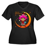 Xmas cat Women's Plus Size V-Neck Dark T-Shirt