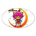 Xmas cat Sticker (Oval 50 pk)