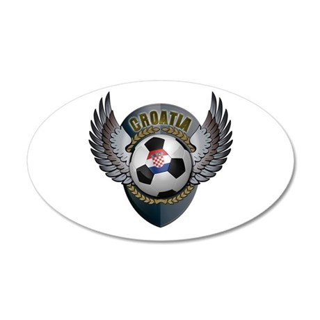 Croatian soccer ball with crest 22x14 Oval Wall Pe