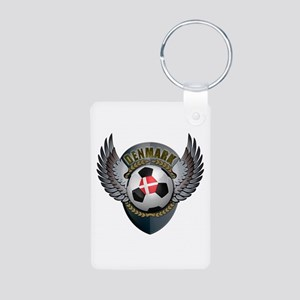 Danish soccer ball with crest Aluminum Photo Keych