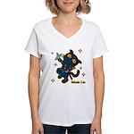 Ninja cat Women's V-Neck T-Shirt