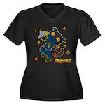 Ninja cat Women's Plus Size V-Neck Dark T-Shirt