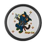 Ninja cat Large Wall Clock