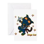 Ninja cat Greeting Cards (Pk of 10)