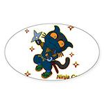 Ninja cat Sticker (Oval)