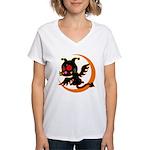 Devil cat 1 Women's V-Neck T-Shirt