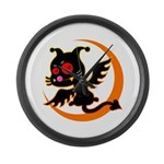 Devil cat 1 Large Wall Clock