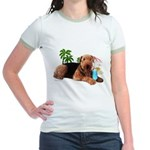 Airedale at the Beach by Vampire Dog Jr. Ringer T-