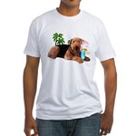 Airedale at the Beach by Vampire Dog Fitted T-Shir