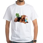Airedale at the Beach by Vampire Dog White T-Shirt